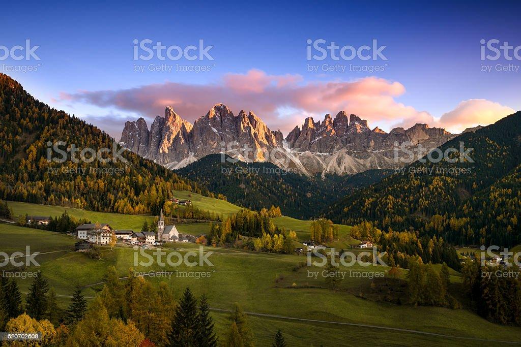 The idyllic Santa Maddalena in val di Funes, South Tyrol stock photo