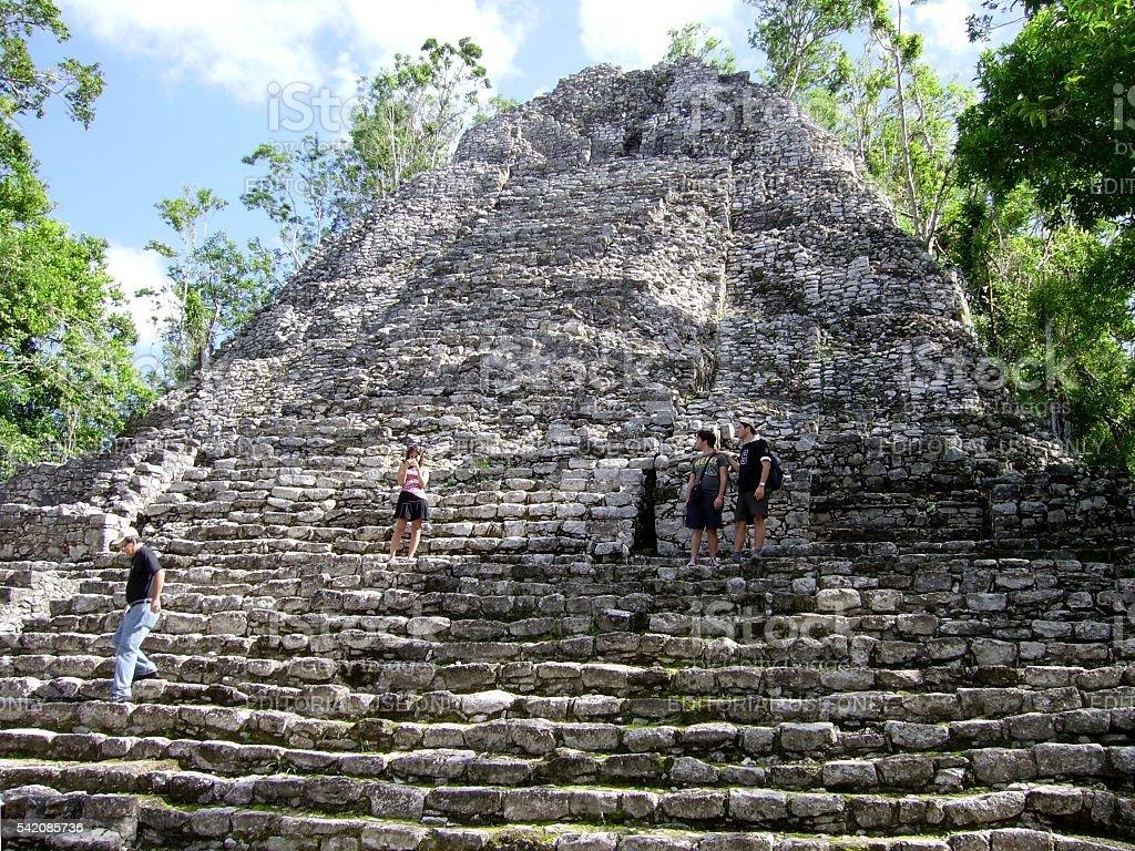 The Iglesia pyramid, Coba maya site, Mexico stock photo