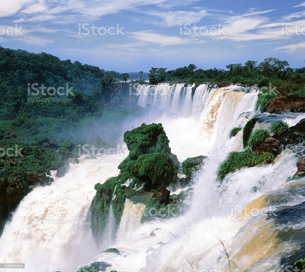 The Iguassu Falls located in Brazil stock photo