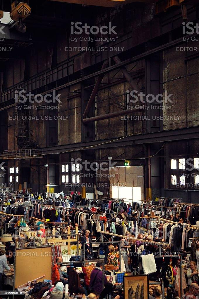 The Ijhallen market in the NDSM hall stock photo