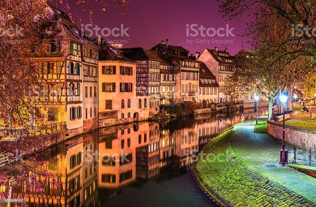 The Ill river in Petite France area, Strasbourg stock photo