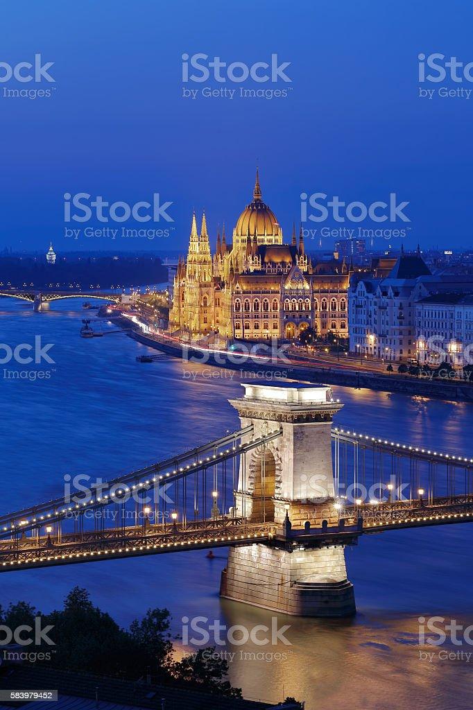 The illuminated Budapest stock photo