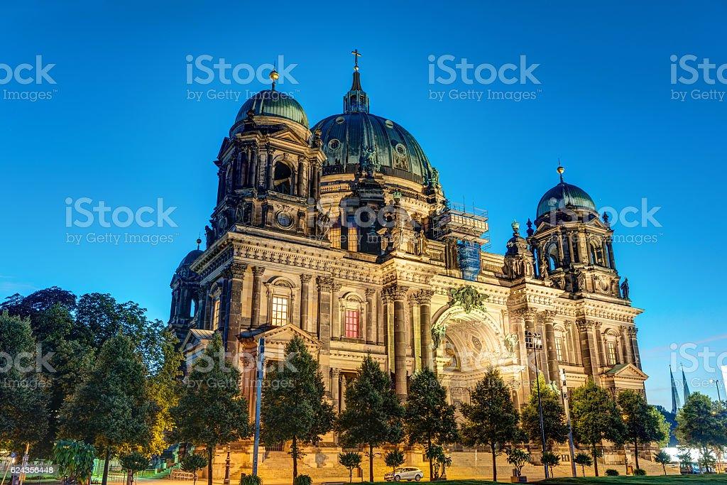 The illuminated Dom in Berlin, Germany stock photo