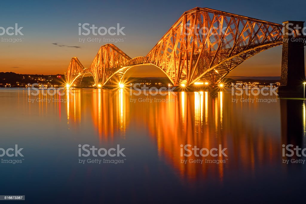 The illuminated Forth rail bridge stock photo