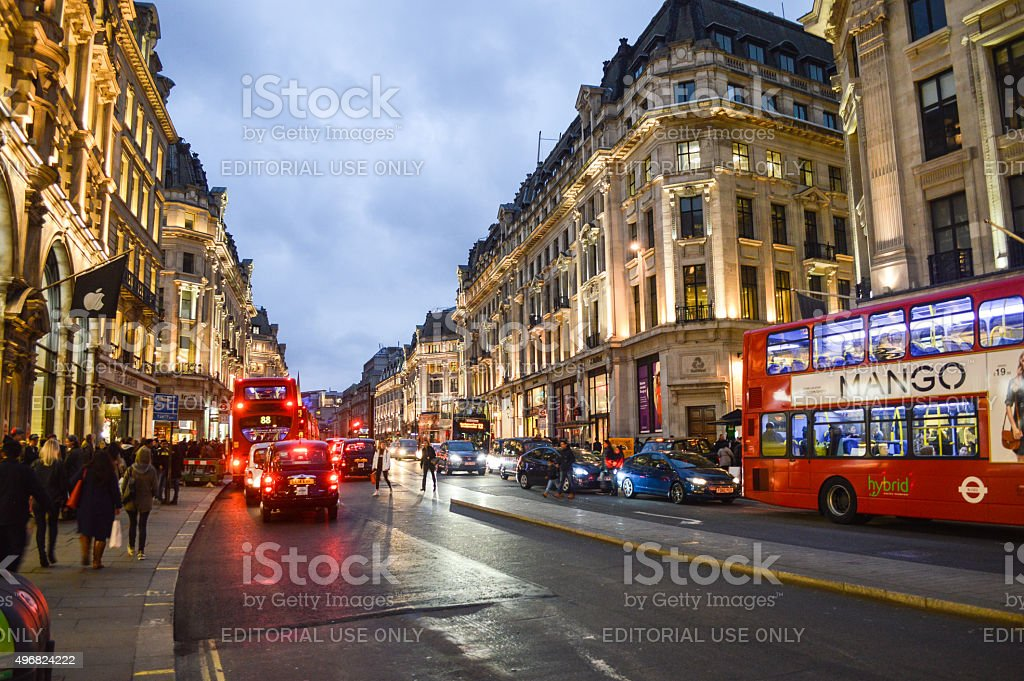 The illuminated streets of London in the evening stock photo