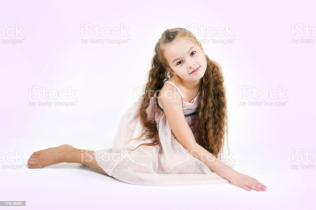 The imade of girl in a pink dress royalty-free stock photo