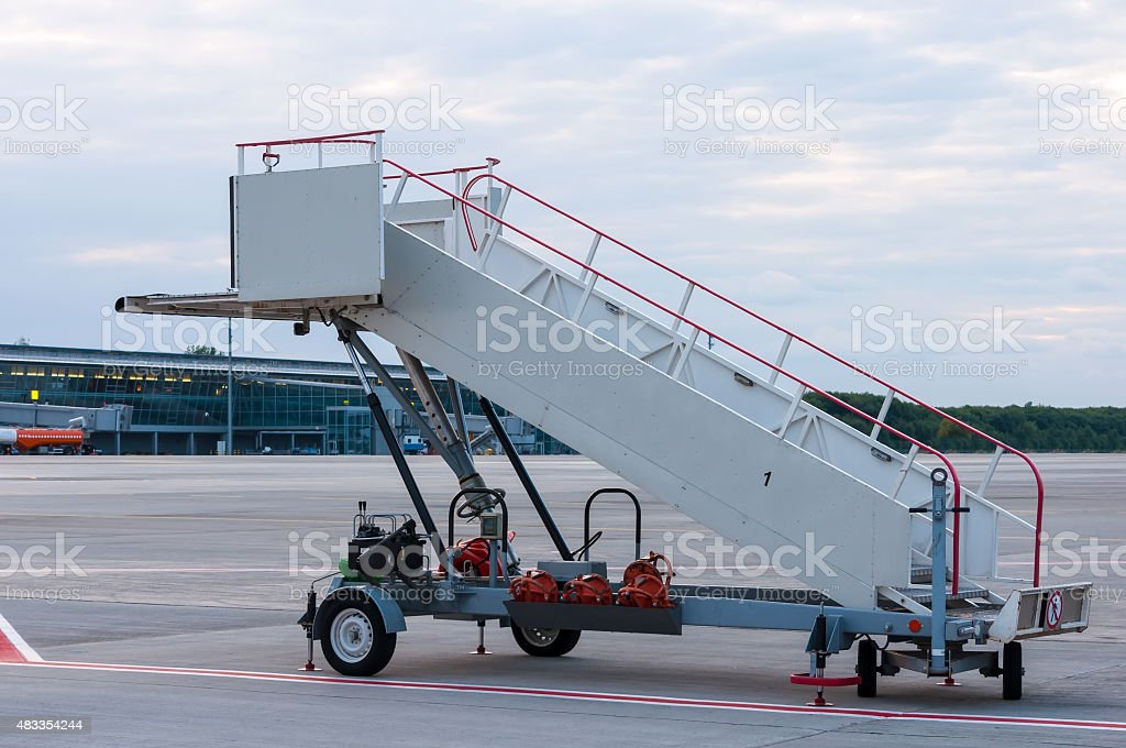The image of a movable boarding ramp at the airport stock photo