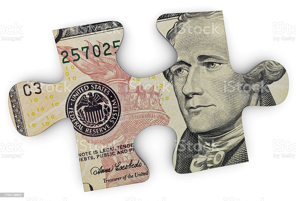 The image of Alexander Hamilton within a jigsaw puzzle piece stock photo