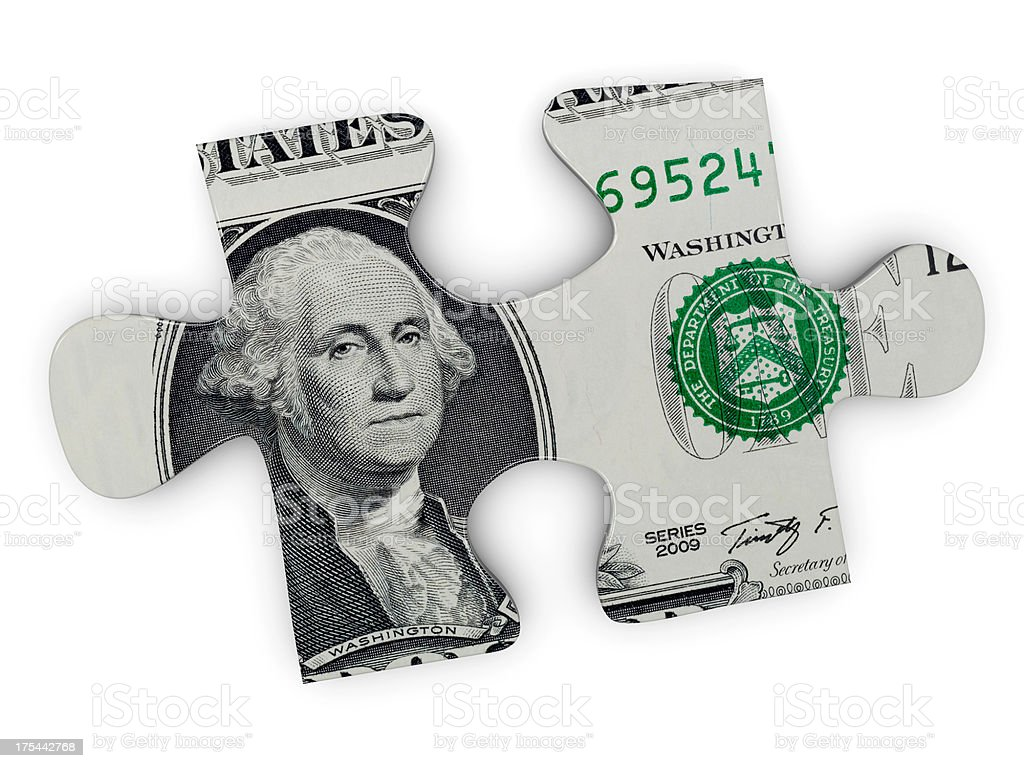The image of George Washington within a jigsaw puzzle piece royalty-free stock photo
