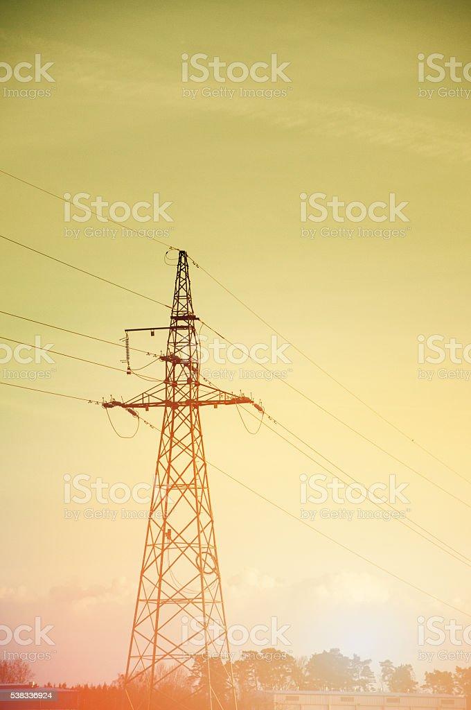 The image of power pole, sunset stock photo