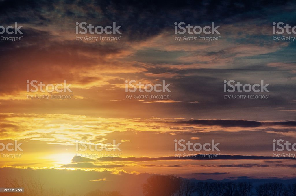 The image of spring sunset, stock photo