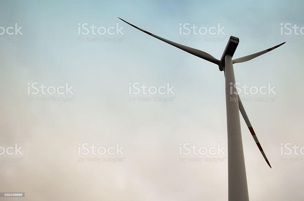 The image of windmill, sunset stock photo