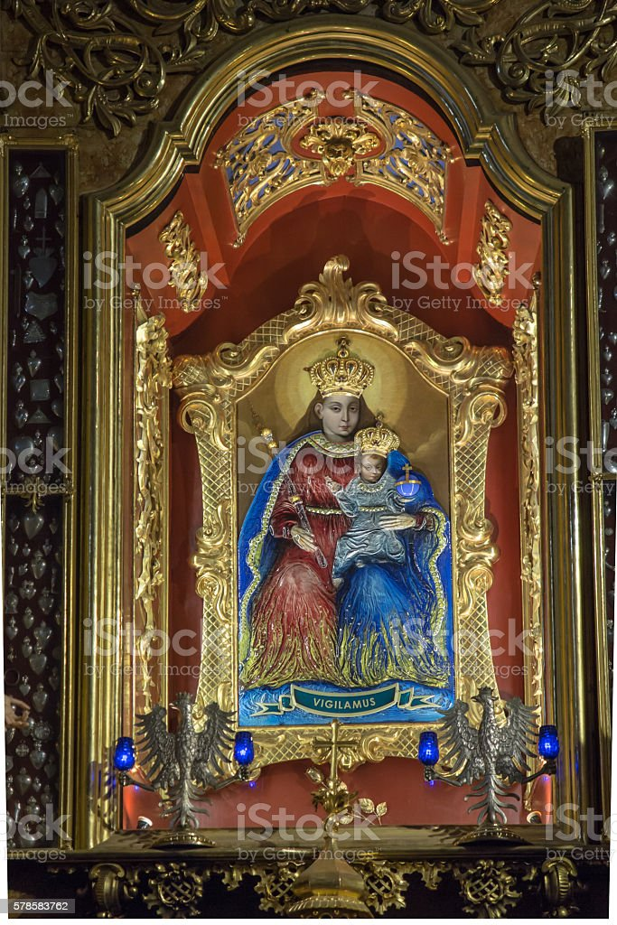 The image Our Lady  in the altar ofshrineKalwaria Pacławska stock photo