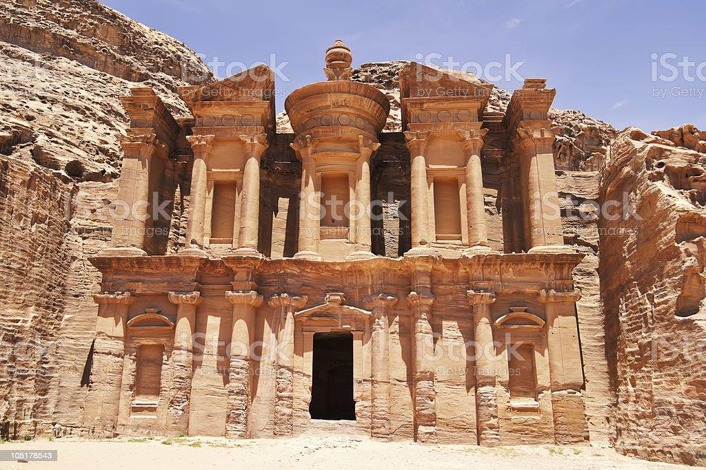 The imposing Monastery in Petra, Jordan royalty-free stock photo