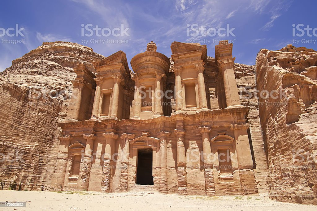 The imposing Monastery in Petra, Jordan stock photo