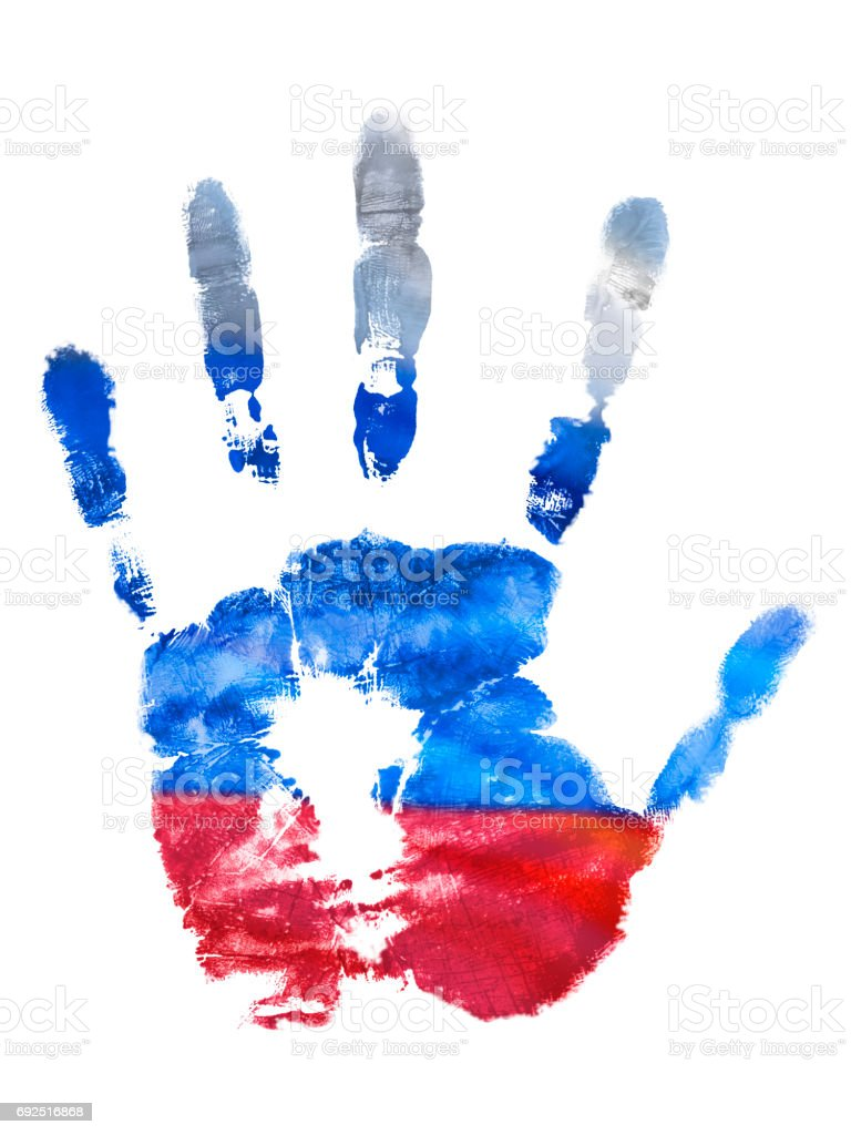 The imprint of the left hand of the Russian Federation flag colors, gouache. Design holidays of Russia stamp stock photo