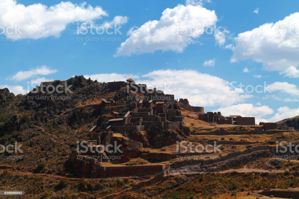 the inca ruins of pisaq in the sacred valley stock photo