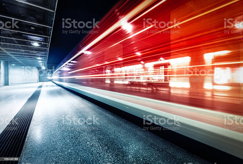 The incoming train stock photo