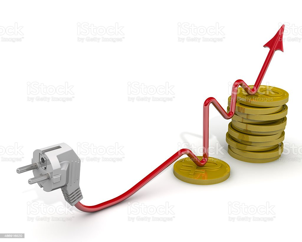 The increase in electricity tariffs. Concept stock photo
