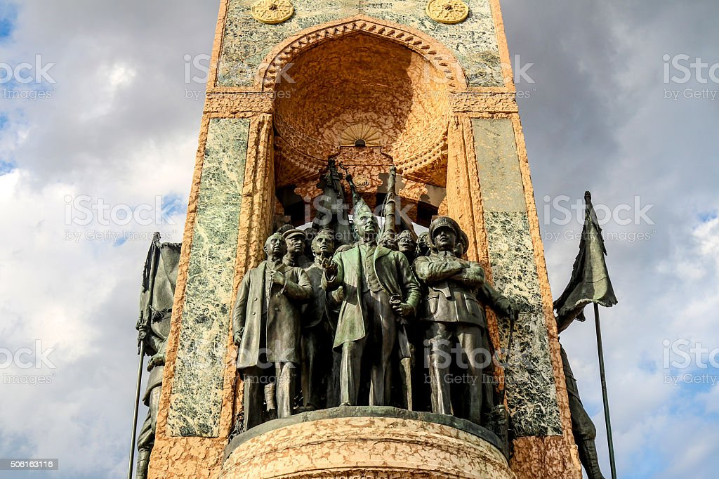 The Independence Monument (Istiklal Aniti) in Istanbul stock photo