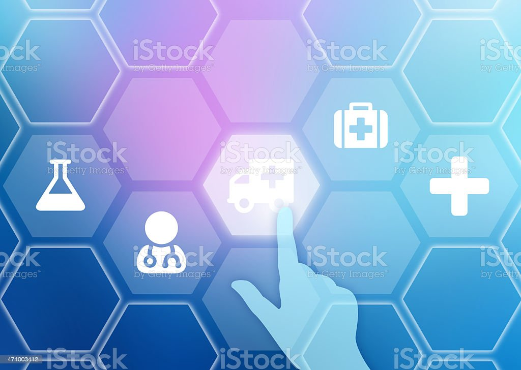 The index finger presses on the icon of machine ambulance stock photo