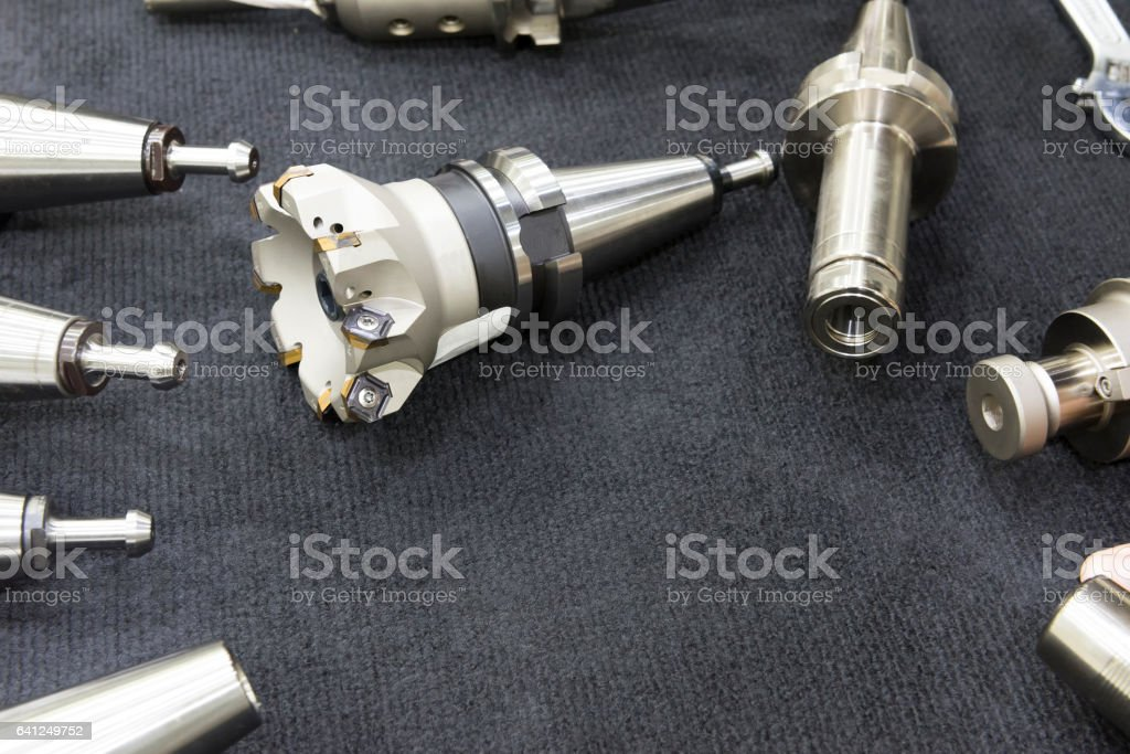 The index-able tool for CNC milling machine stock photo