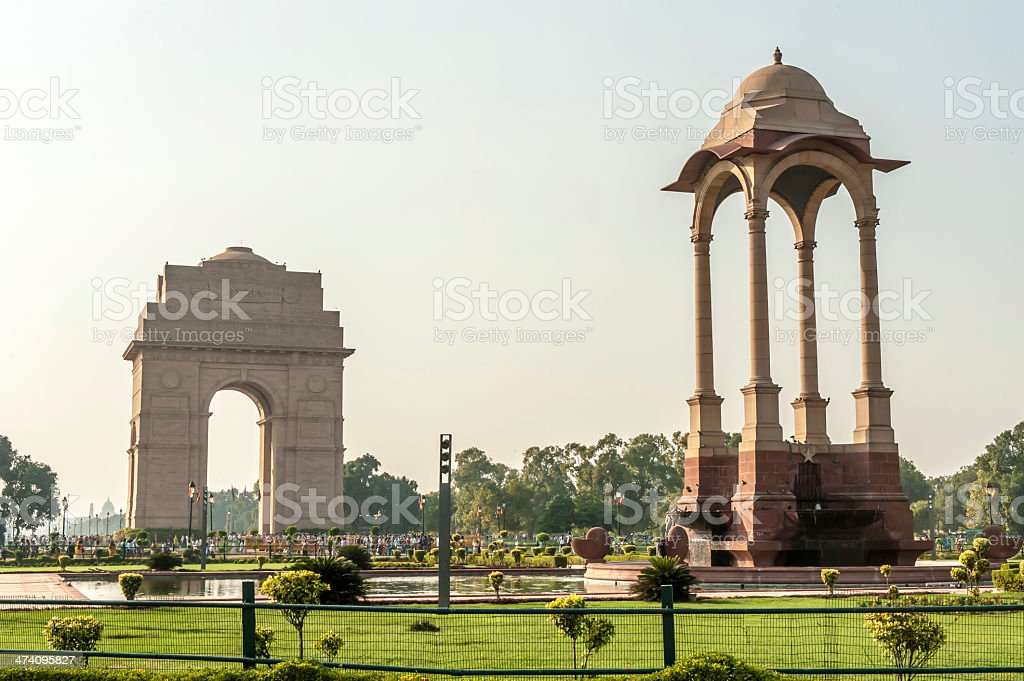 The India Gate in New Delhi, India on a clear, sunny day stock photo