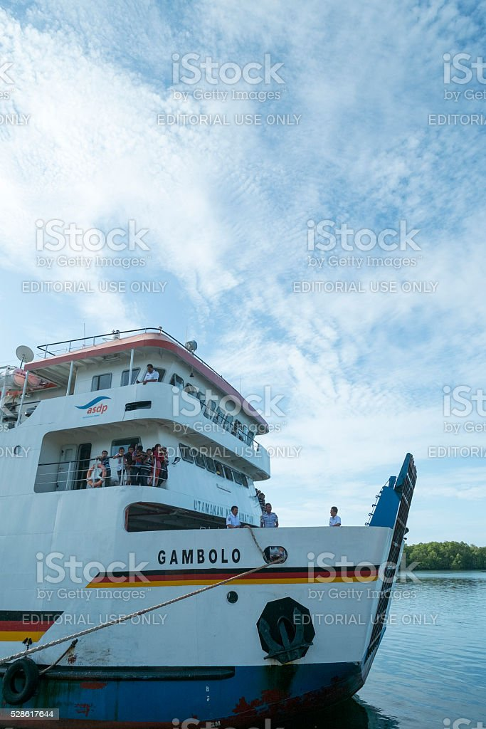The Indonesian public transport called Ferry Gambolo stock photo