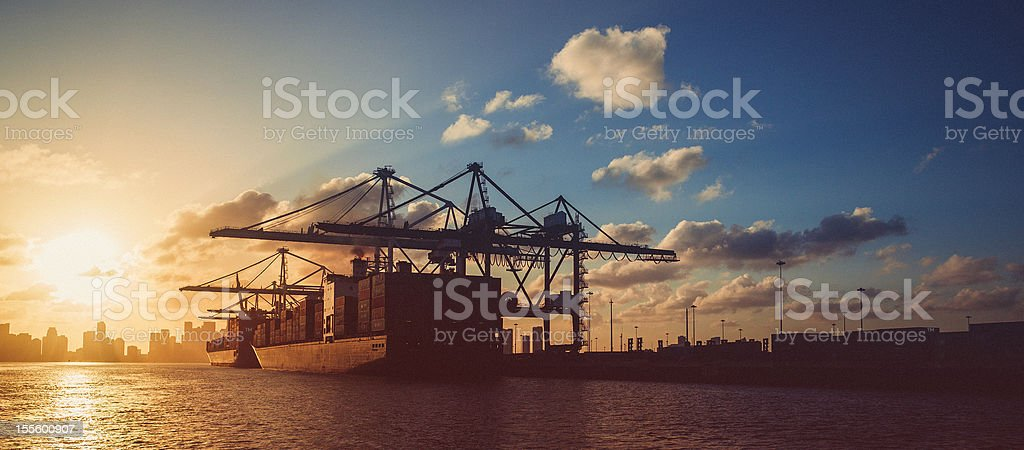 the industrial port of miami panorama stock photo