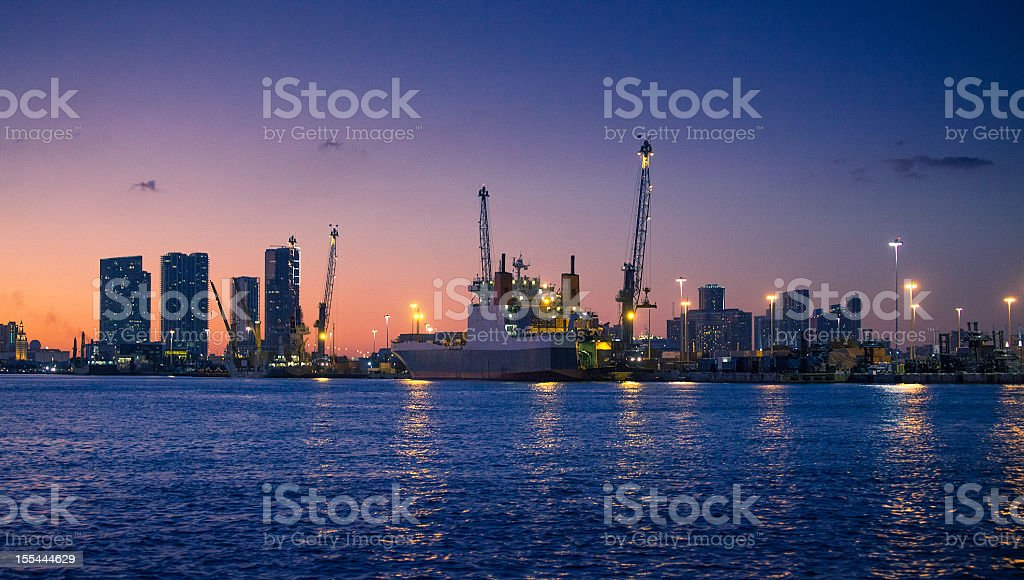 the industrial port of miami stock photo