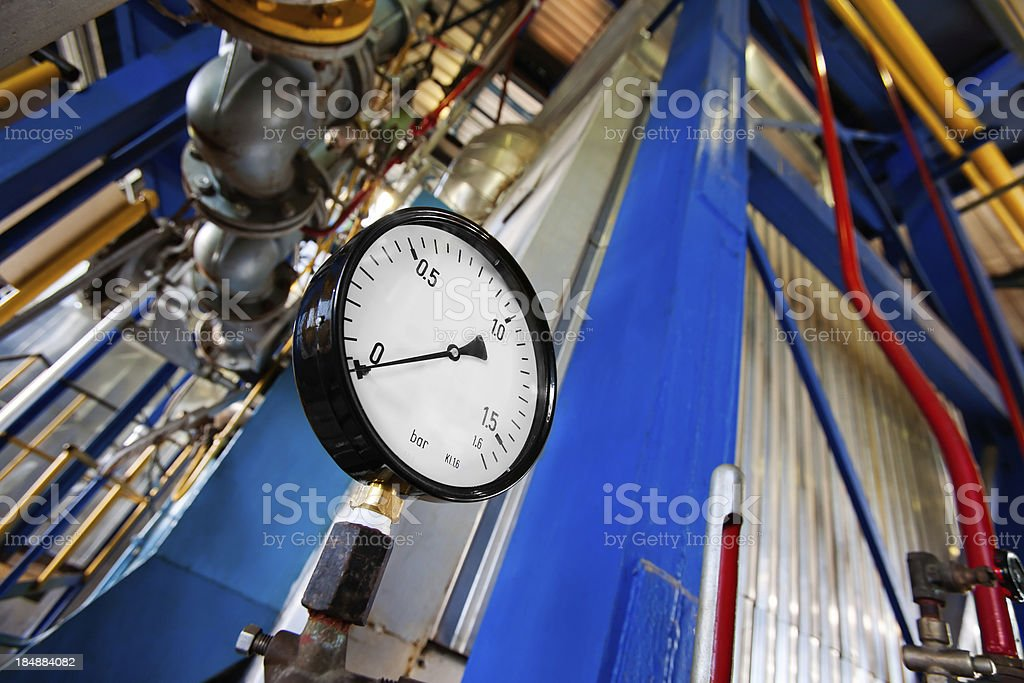 The industrial unit of heating system stock photo