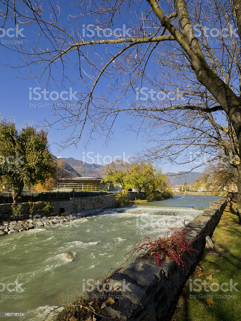 The Inn River in autumn royalty-free stock photo