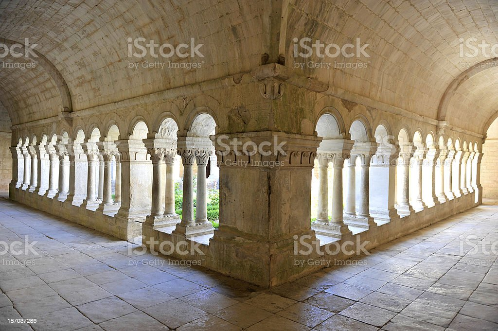 The inner cloister of Senanque abbey stock photo