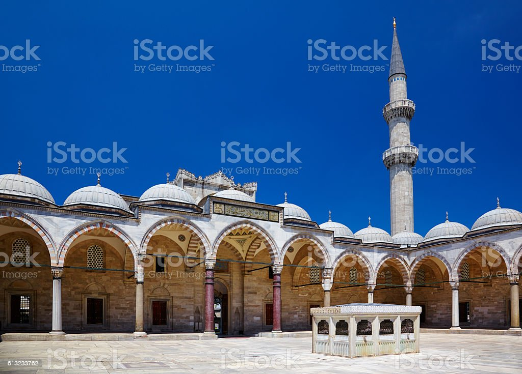 The inner courtyard of Suleymaniye Mosque, Istanbul stock photo