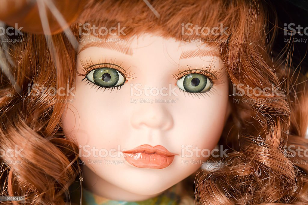 The innocent eyes of a doll-girl. stock photo