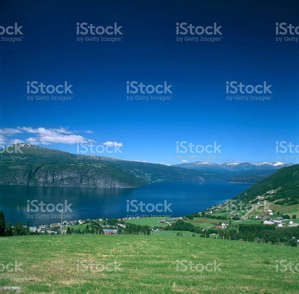 The Innvikfjord skyline stock photo