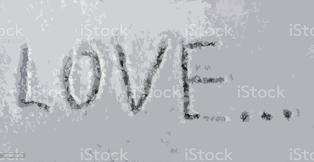 The inscription 'Love' on the snow stock photo