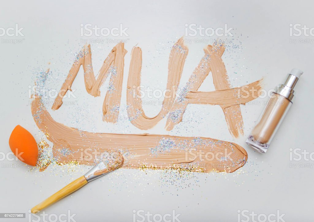 The inscription Makeup with a cream stock photo