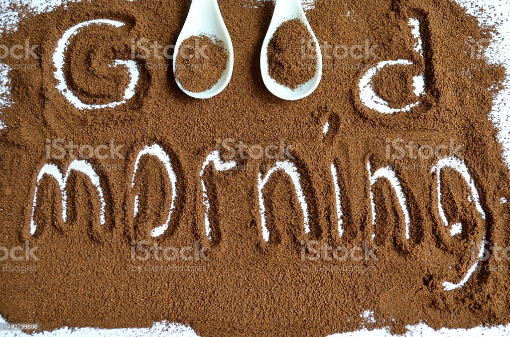 The inscription on the ground coffee 'good morning' stock photo