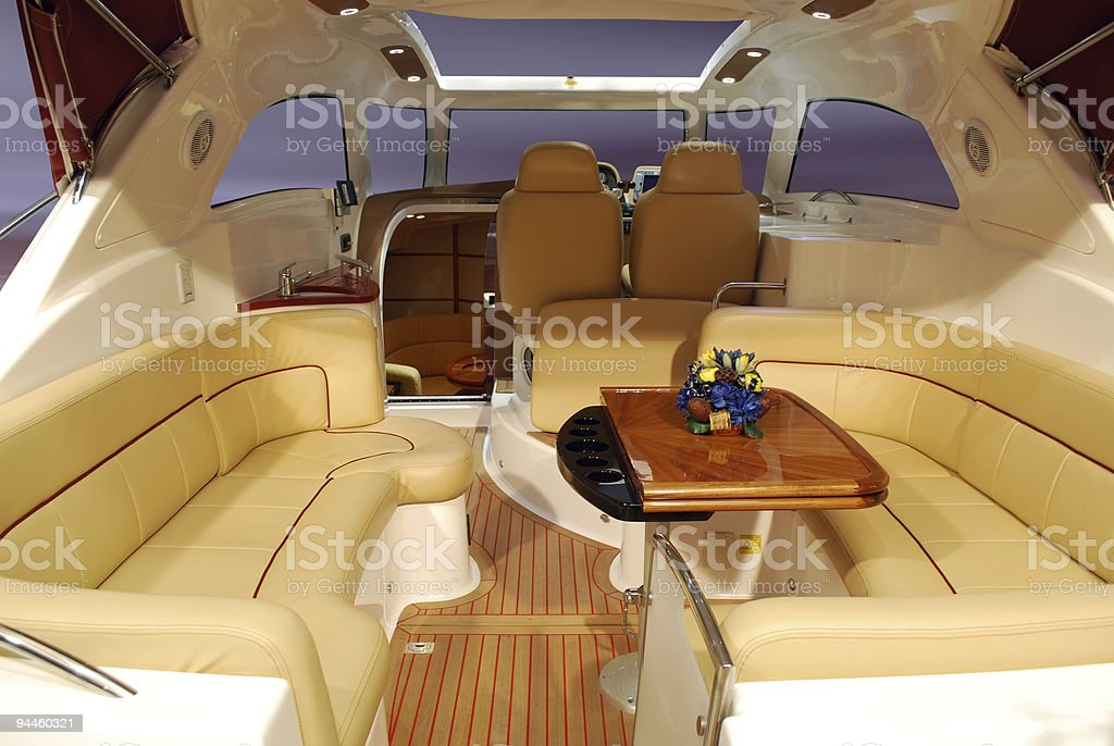 The inside of a luxurious yacht  stock photo