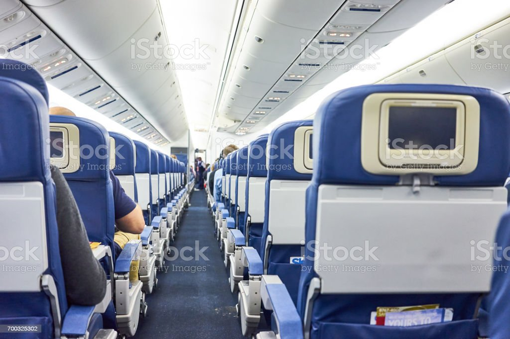 The inside of a public plane stock photo