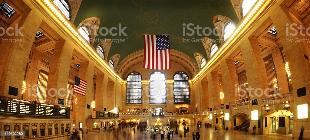 The inside of grand central station in New York City stock photo