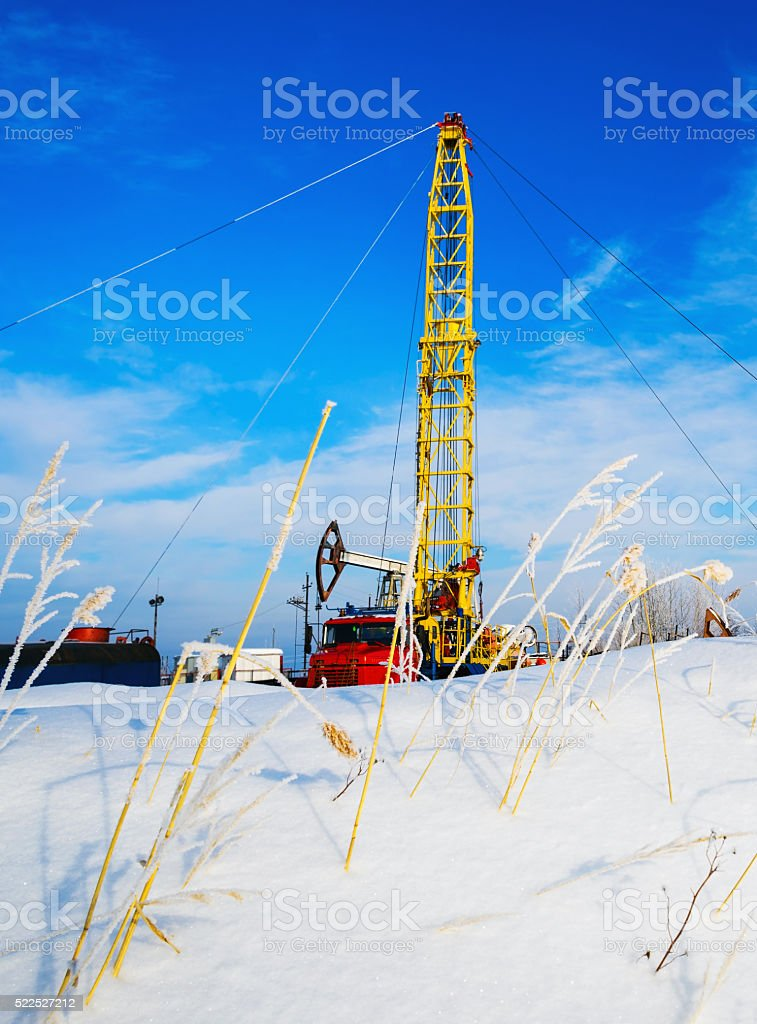 The installation major repairs oil wells of the winter . stock photo