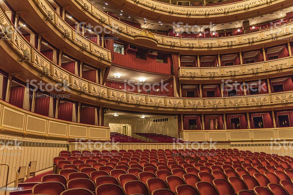 The interior design of the Vienna state opera stock photo