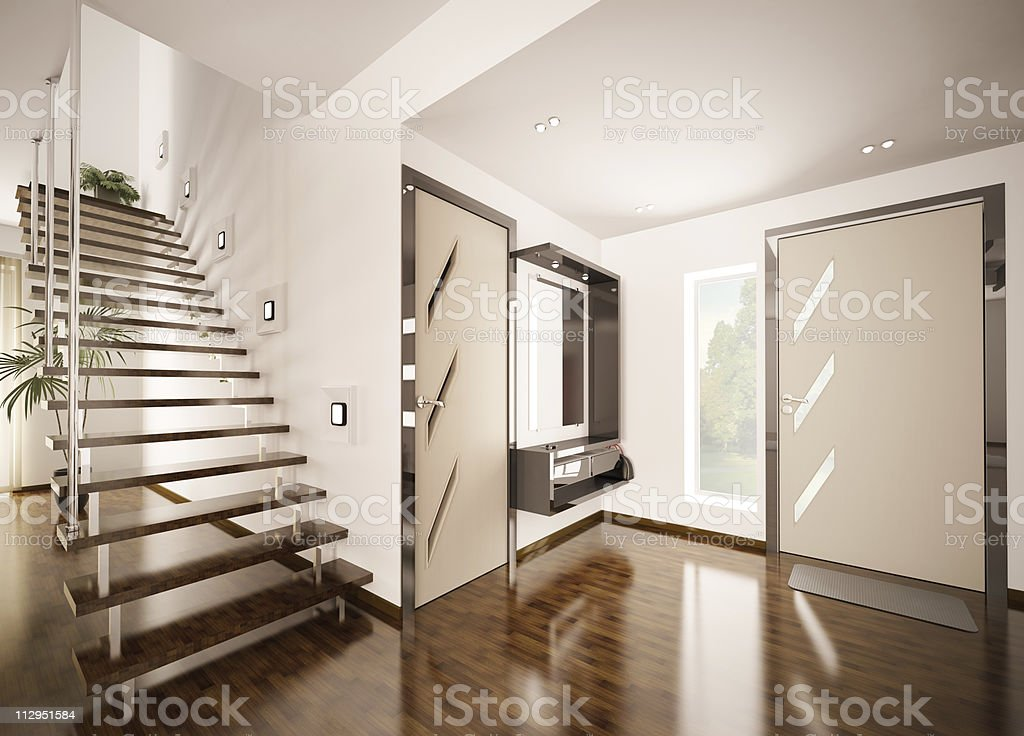 The interior hall of a modern house royalty-free stock photo