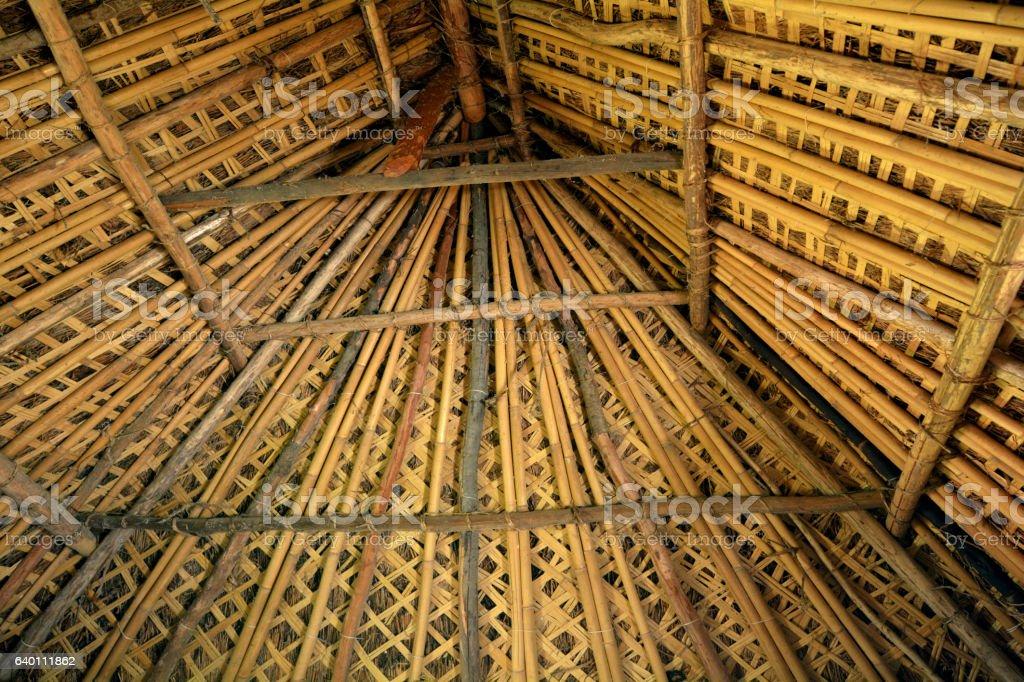 The interior look of a Fijian bure roof stock photo