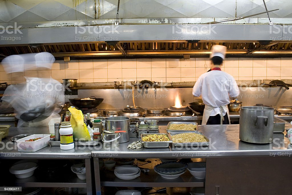 The interior of a kitchen in a restaurant stock photo