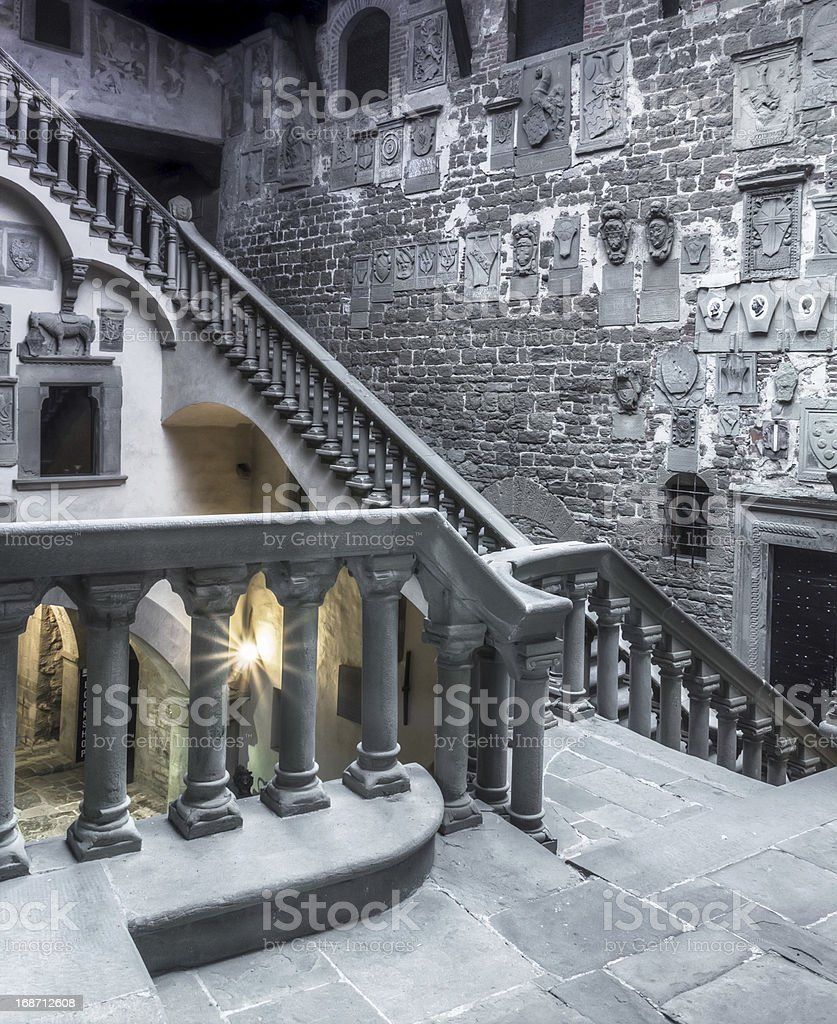 The interior of a medieval castle in Italy royalty-free stock photo