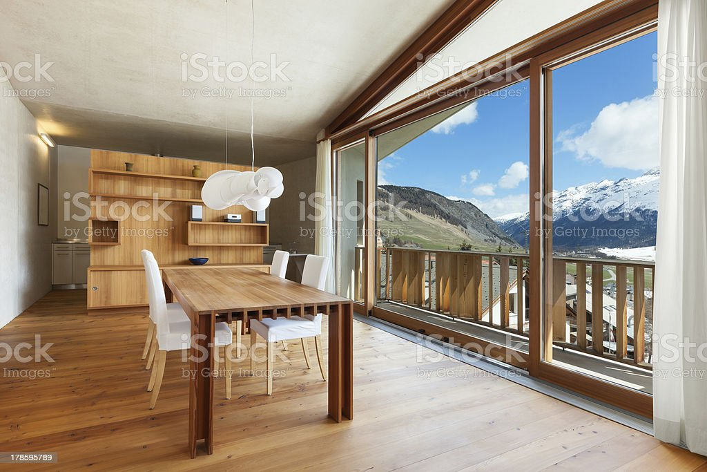 The interior of a modern wood mountains house stock photo