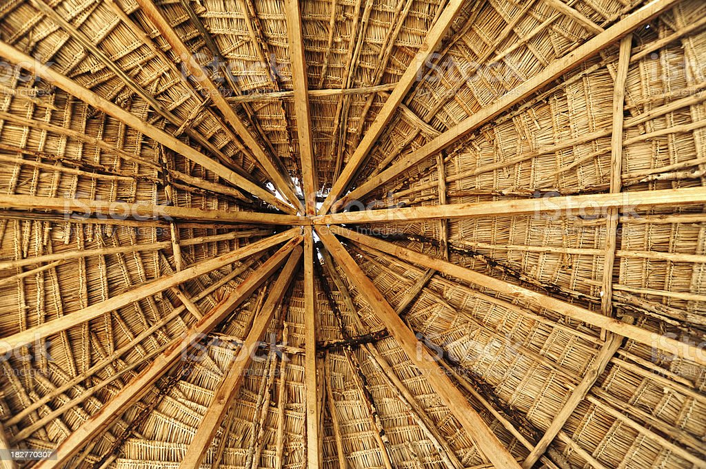The interior of an African Hut stock photo